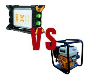 Imagen con el vibrador de alta frecuencia BOXEL en el margen superior izquierdo con el texto VS (contra) en el medio de la imagen y con el vibrador pendular VG ENAR en el margen inferior derecho.