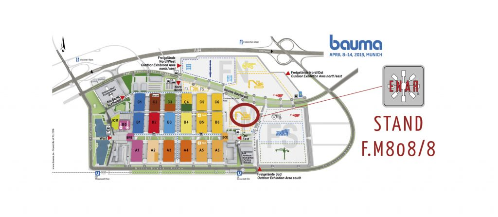 imagen del mapa de la Bauma 2019 señalando la localización de Enar con su logotipo y el numero de stand FM.808/8
