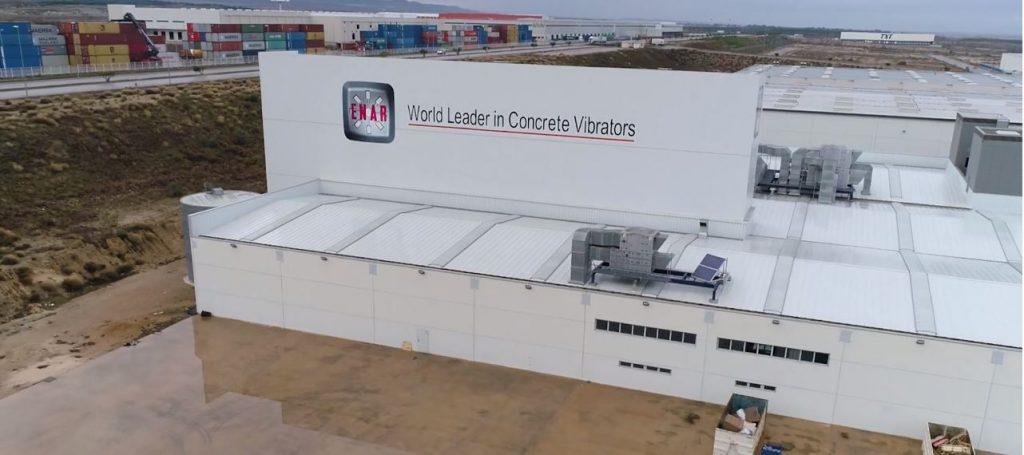 Imagen tomada desde el dron de la nave en PLAZA (Zaragoza) de la nave de EnarGroup